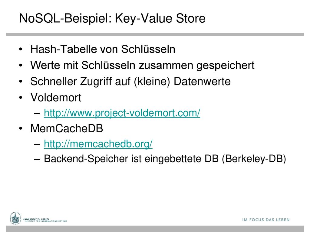 NoSQL-Beispiel: Key-Value Store