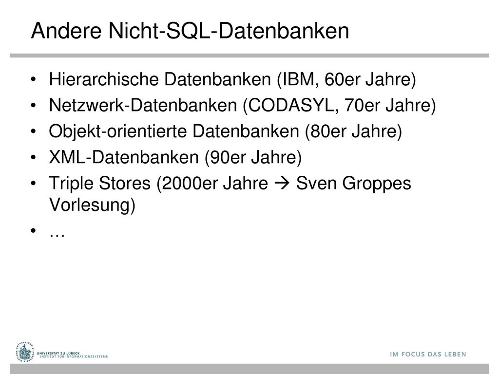 Andere Nicht-SQL-Datenbanken
