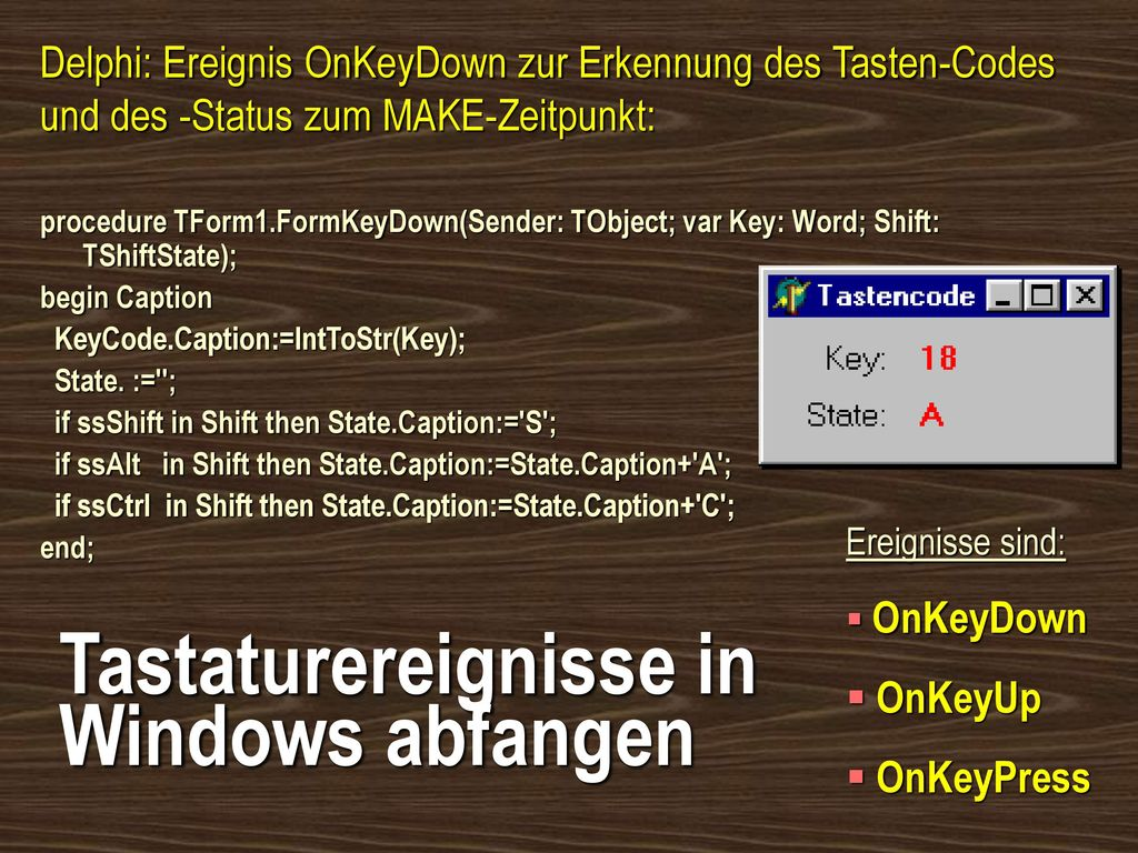 Tastaturereignisse in Windows abfangen