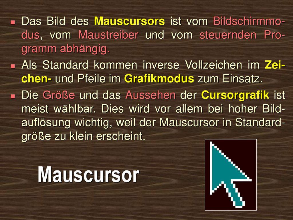Das Bild des Mauscursors ist vom Bildschirmmo-dus, vom Maustreiber und vom steuernden Pro-gramm abhängig.