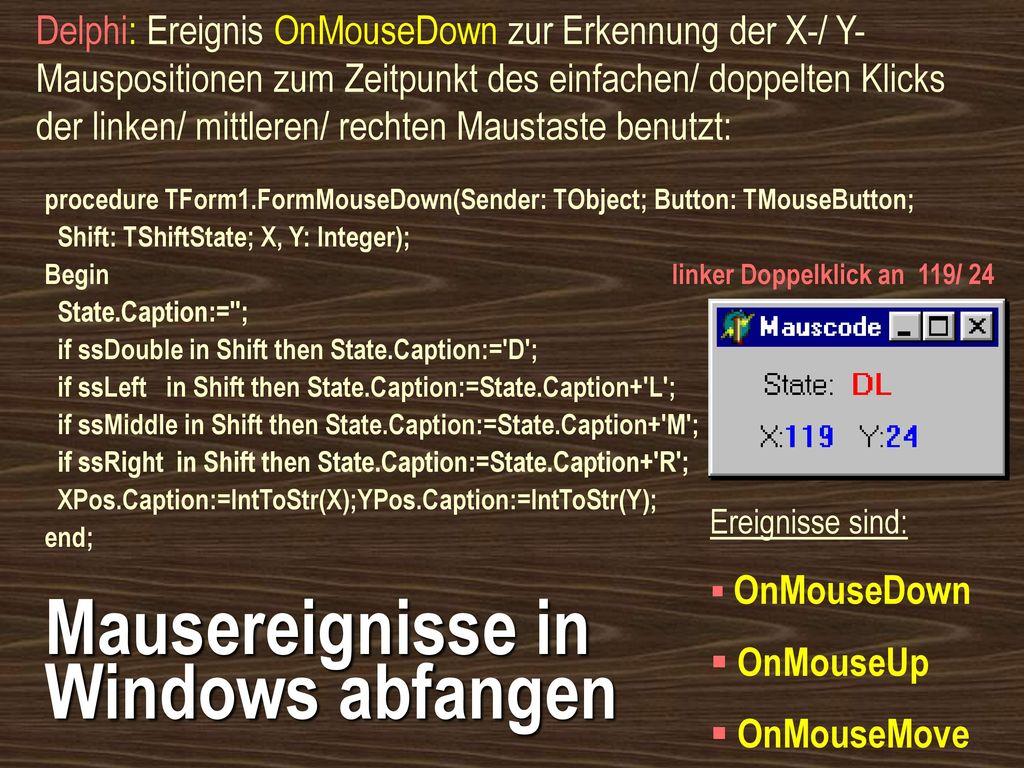 Mausereignisse in Windows abfangen