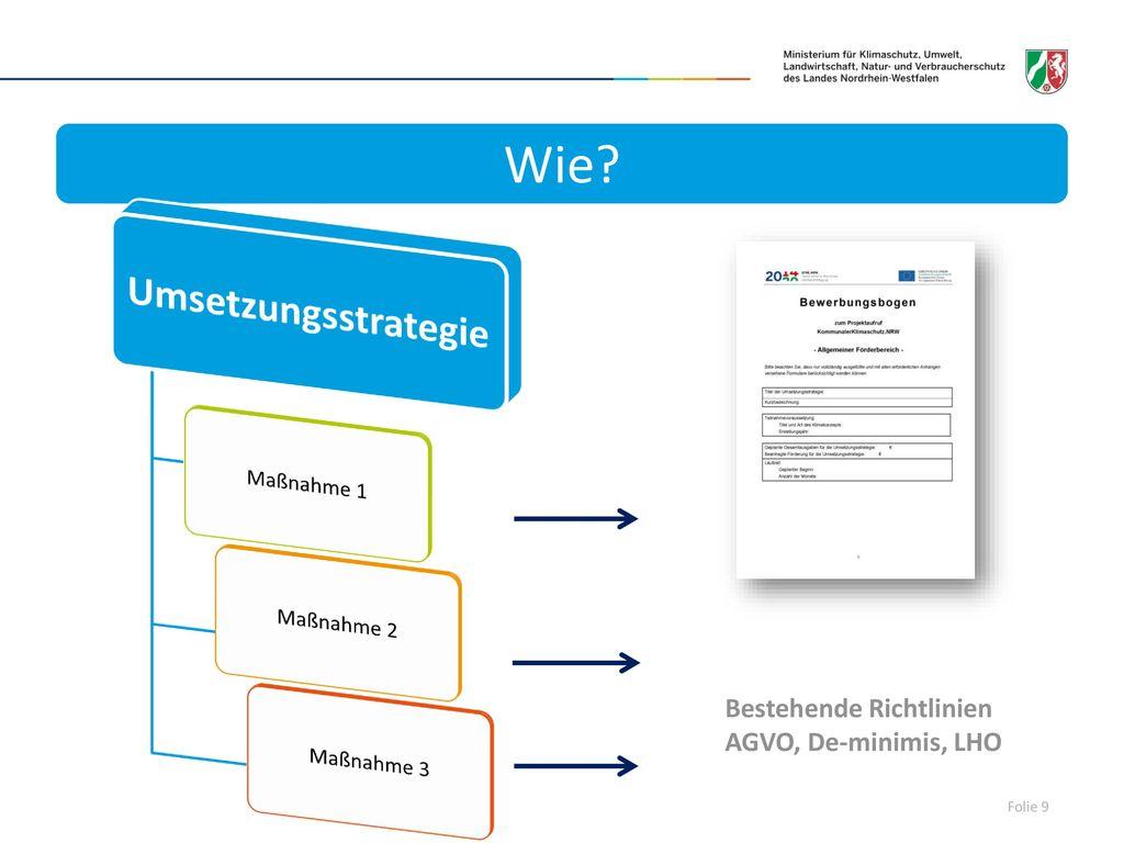 Wie Umsetzungsstrategie Bestehende Richtlinien AGVO, De-minimis, LHO