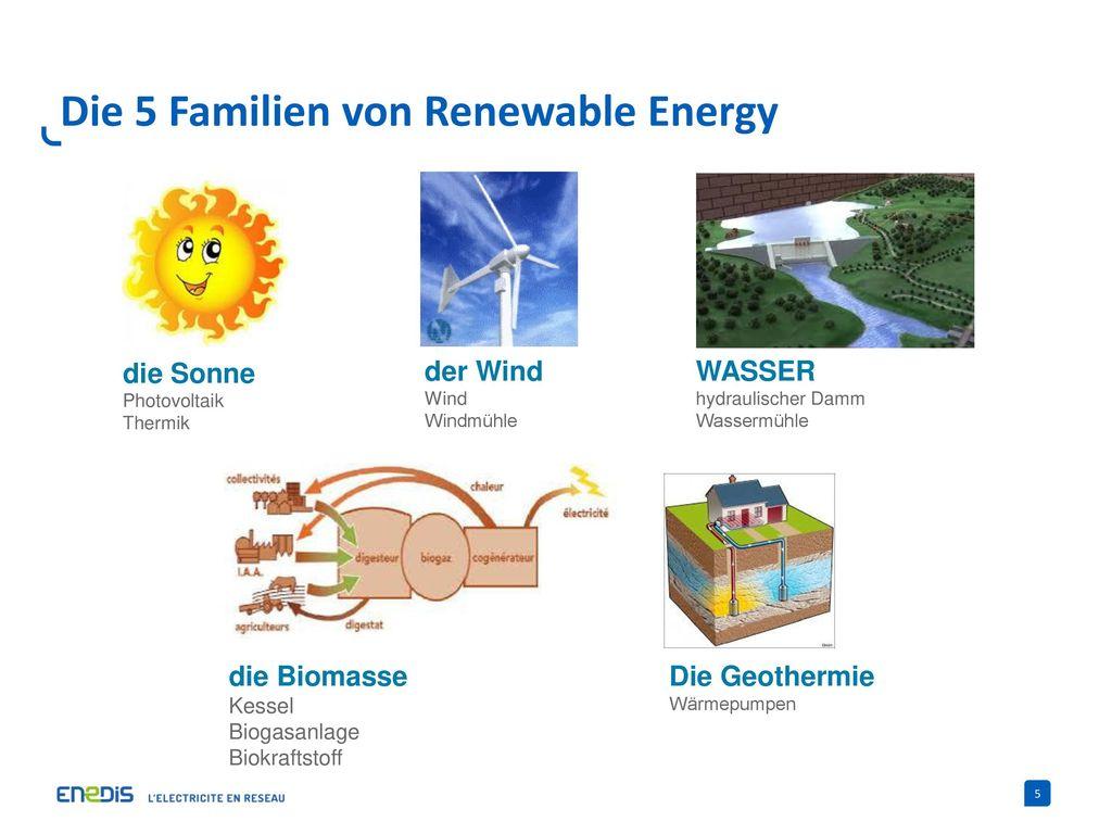 Die 5 Familien von Renewable Energy