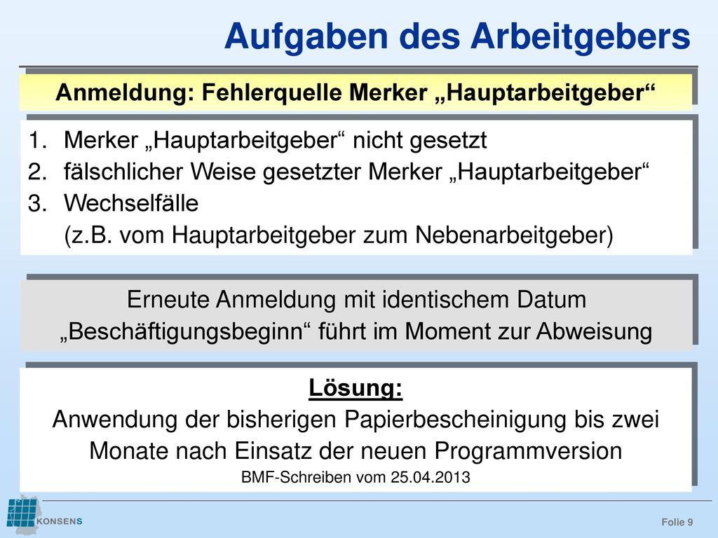"""Anmeldung: Fehlerquelle Merker """"Hauptarbeitgeber"""