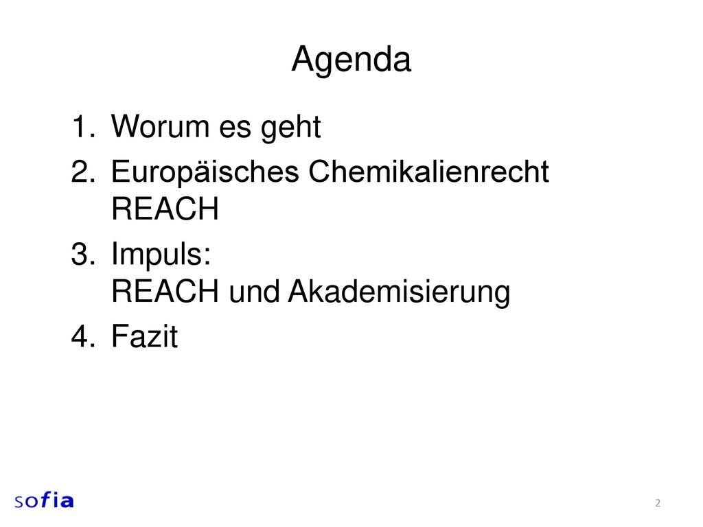 Agenda Worum es geht Europäisches Chemikalienrecht REACH