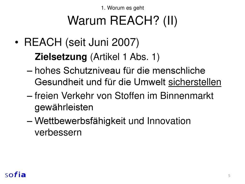 Warum REACH (II) REACH (seit Juni 2007)