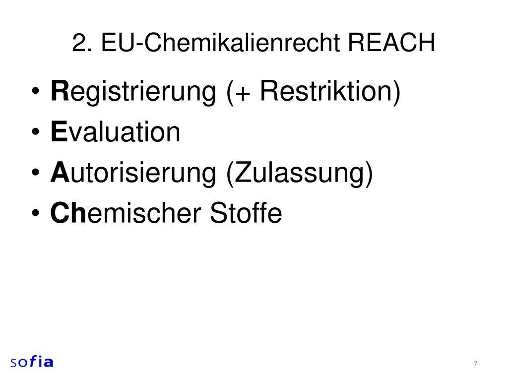 2. EU-Chemikalienrecht REACH