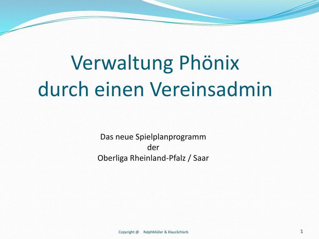 Verwaltung Phönix durch einen Vereinsadmin