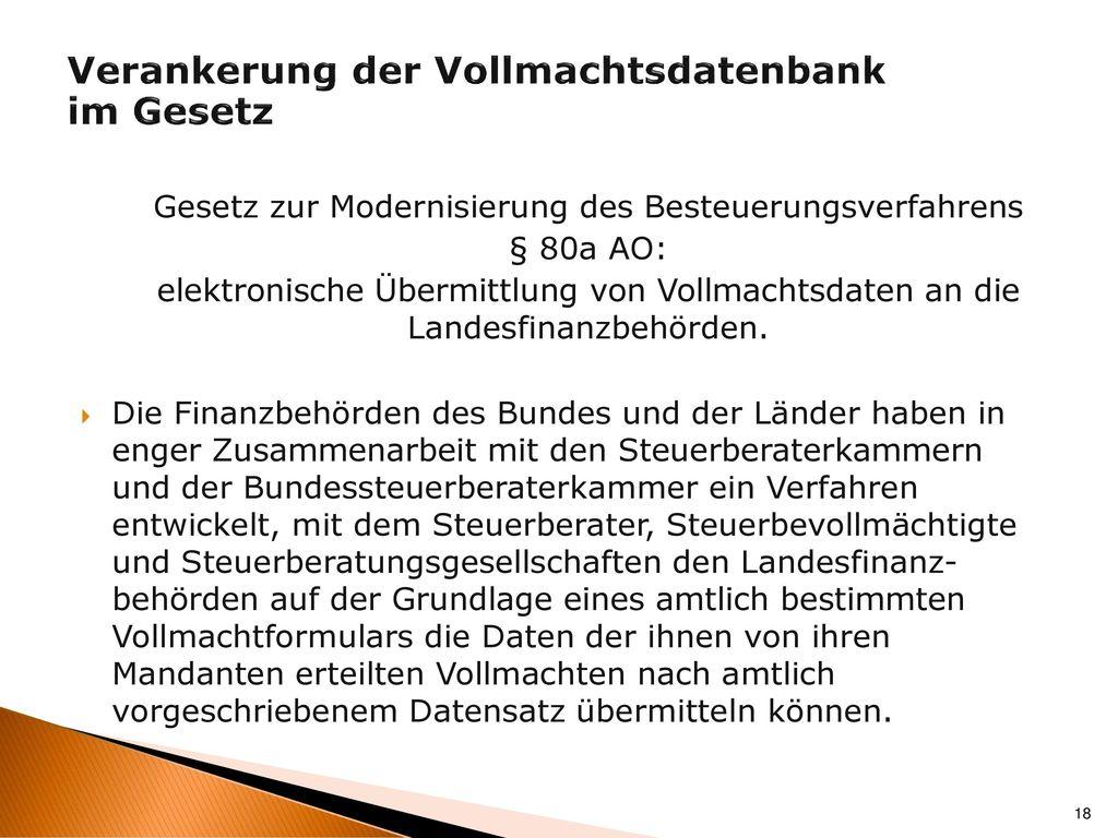 Verankerung der Vollmachtsdatenbank im Gesetz