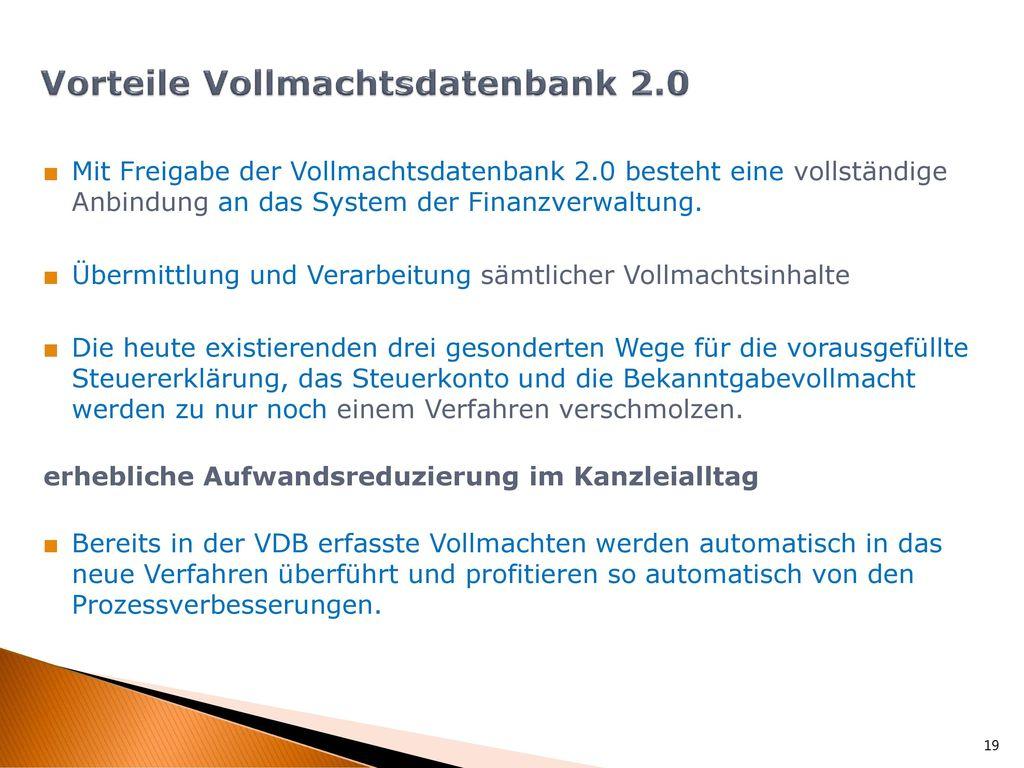 Vorteile Vollmachtsdatenbank 2.0