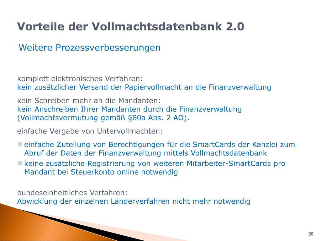 Vorteile der Vollmachtsdatenbank 2.0