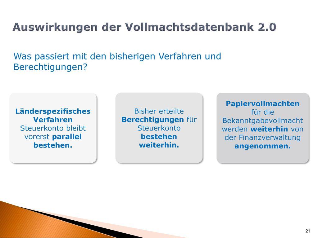 Auswirkungen der Vollmachtsdatenbank 2.0