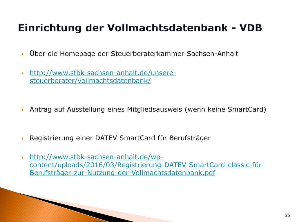 Einrichtung der Vollmachtsdatenbank - VDB
