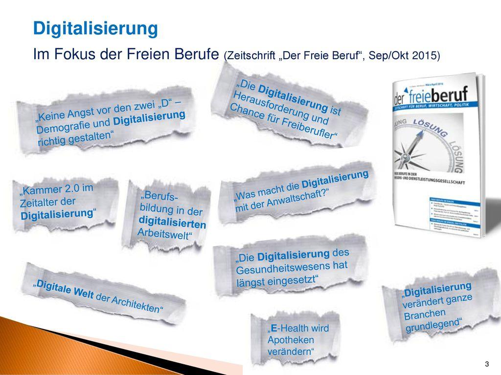 """Digitalisierung Im Fokus der Freien Berufe (Zeitschrift """"Der Freie Beruf , Sep/Okt 2015)"""