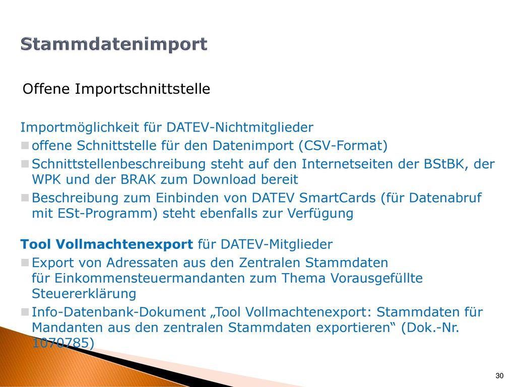 Stammdatenimport Offene Importschnittstelle