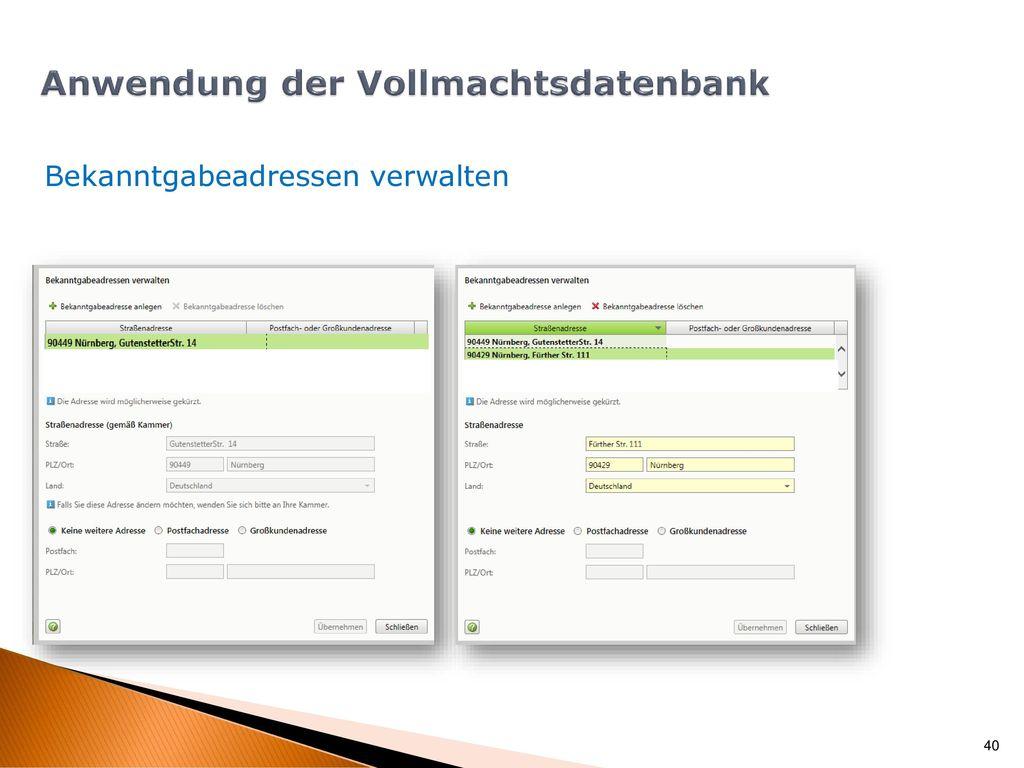 Vollmachtsdatenbank Anwendung/Aufruf der Vollmachtsdatenbank