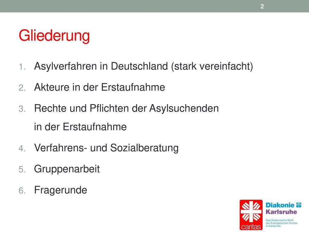 Gliederung Asylverfahren in Deutschland (stark vereinfacht)