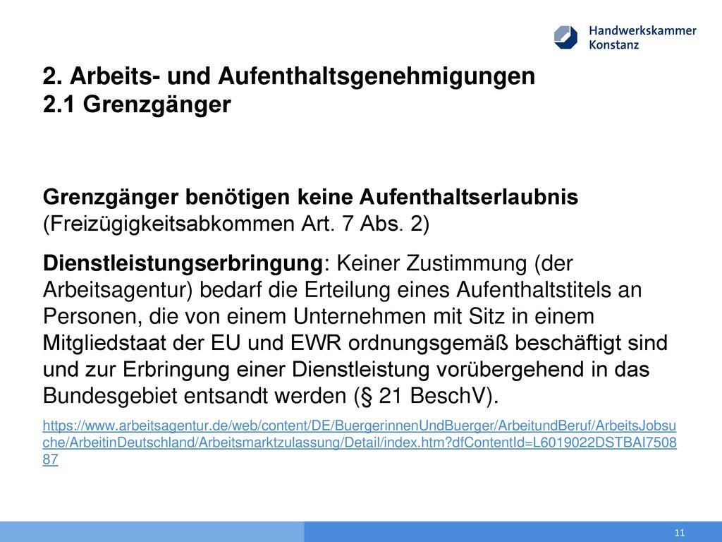 2. Arbeits- und Aufenthaltsgenehmigungen 2.1 Grenzgänger
