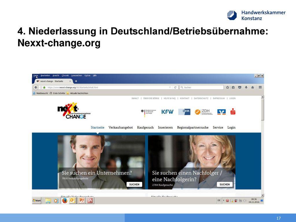 4. Niederlassung in Deutschland/Betriebsübernahme: Nexxt-change.org