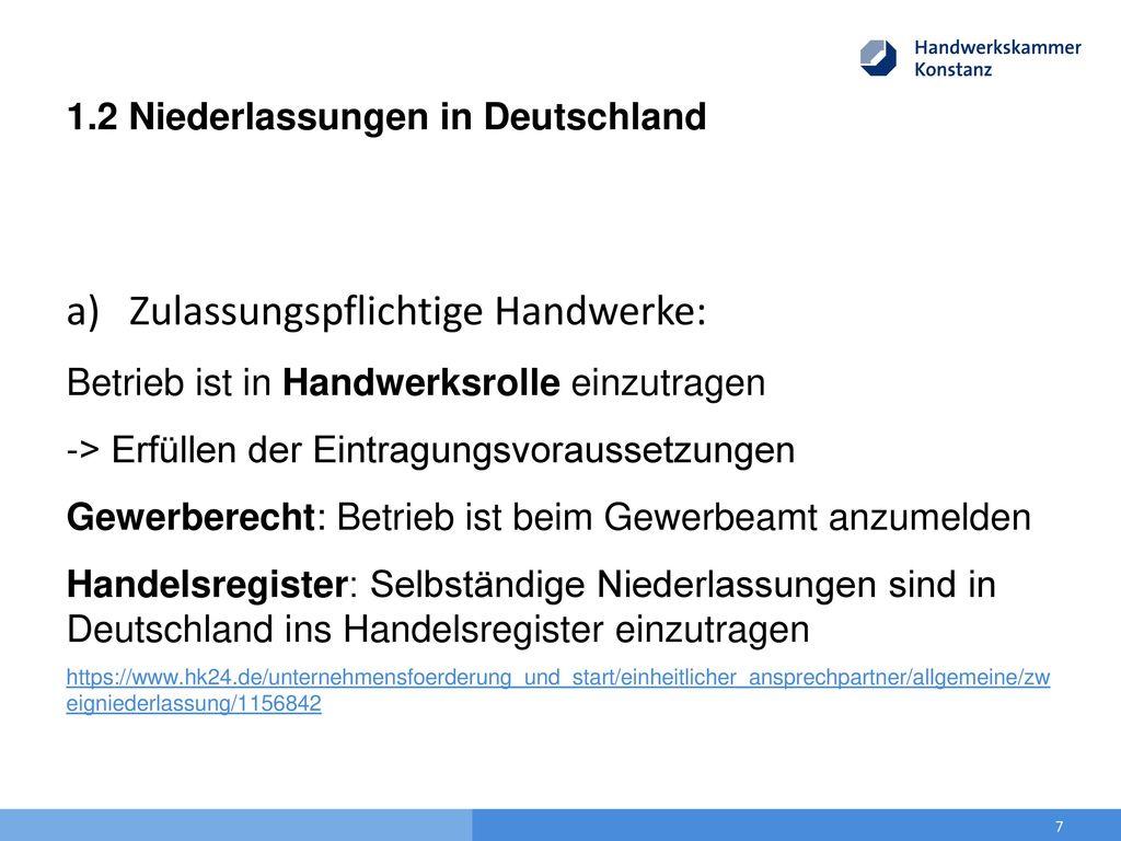1.2 Niederlassungen in Deutschland