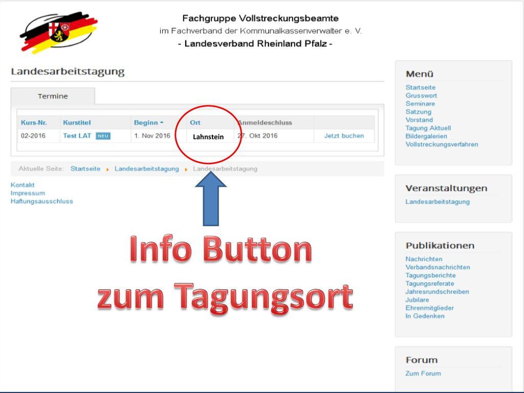Info Button zum Tagungsort