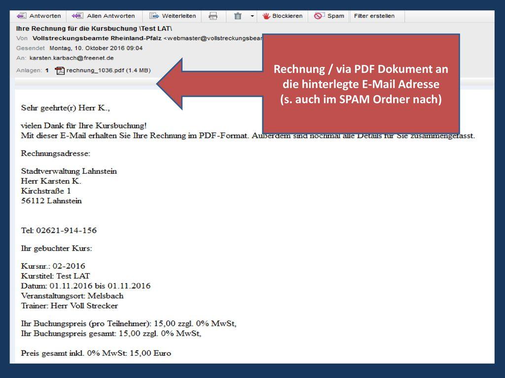 Rechnung / via PDF Dokument an die hinterlegte E-Mail Adresse
