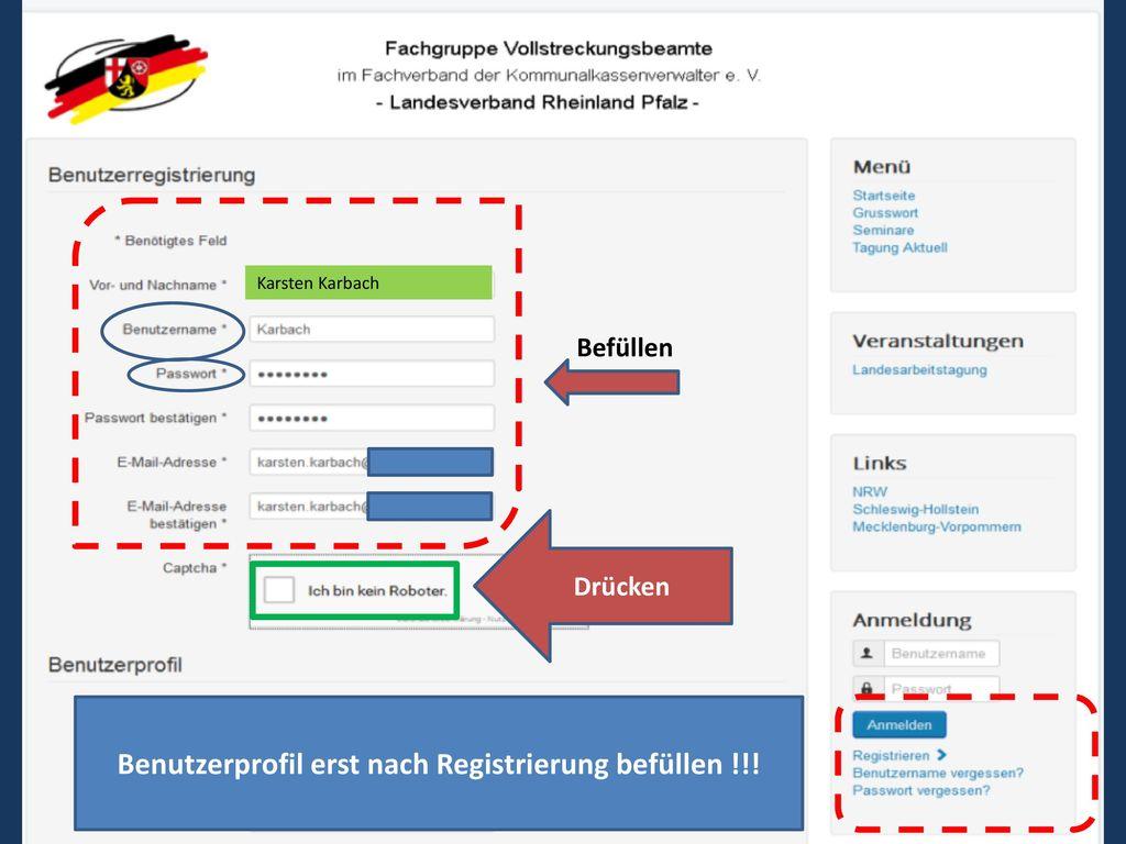 Benutzerprofil erst nach Registrierung befüllen !!!