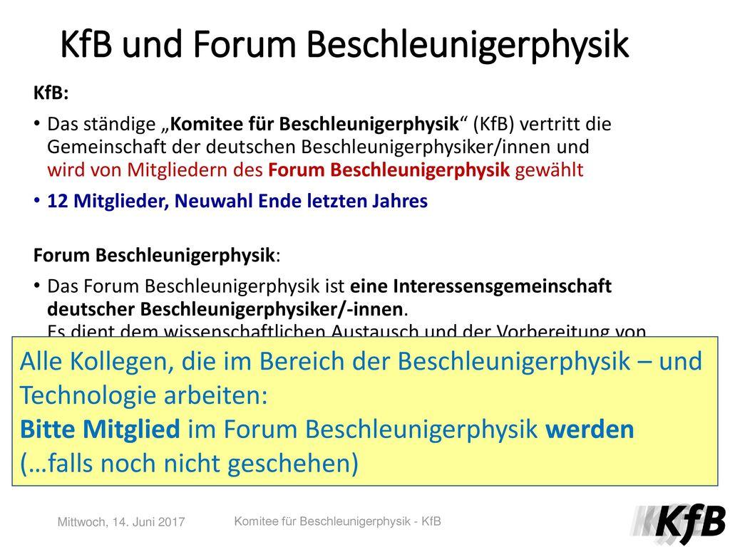 KfB und Forum Beschleunigerphysik