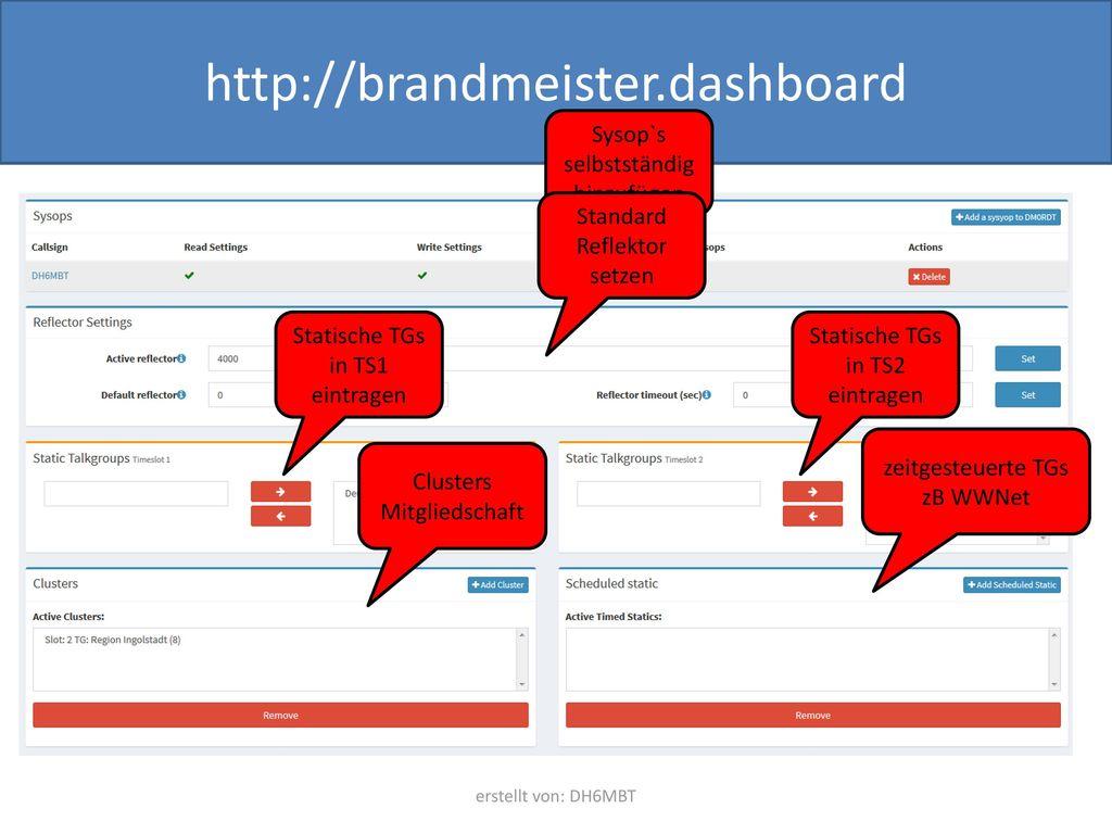 http://brandmeister.dashboard Sysop`s selbstständig hinzufügen
