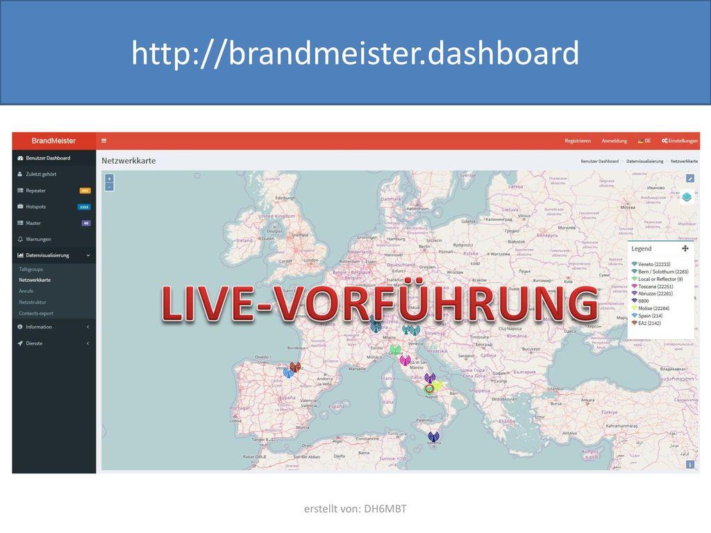 http://brandmeister.dashboard LIVE-VORFÜHRUNG erstellt von: DH6MBT