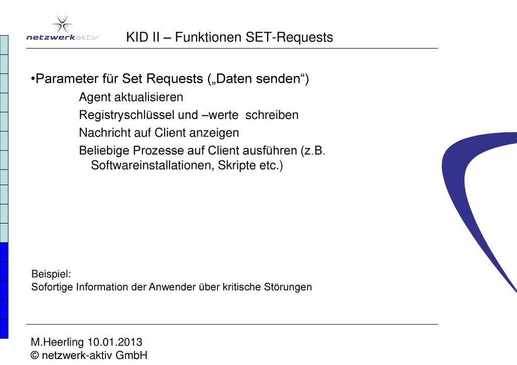 KID II – Funktionen SET-Requests