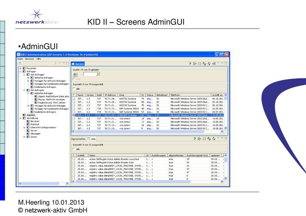KID II – Screens AdminGUI