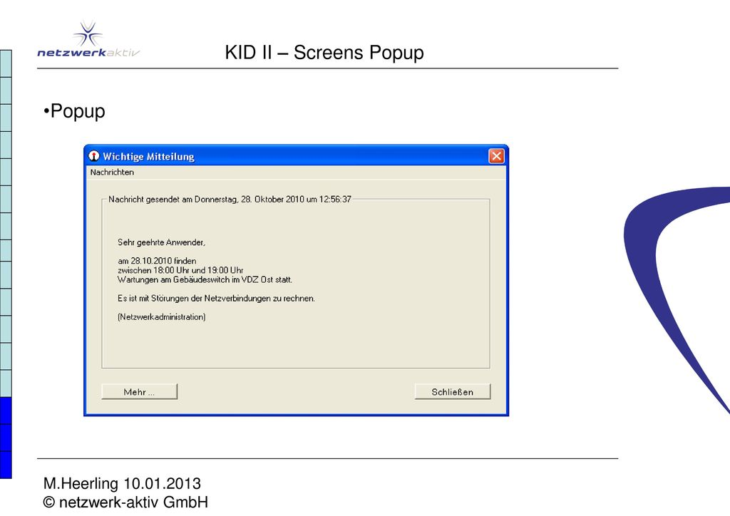 KID II – Screens Popup Popup M.Heerling