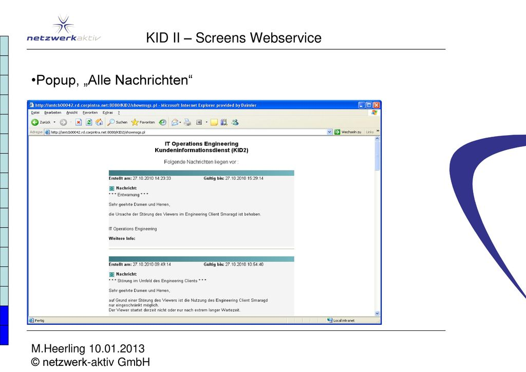 KID II – Screens Webservice