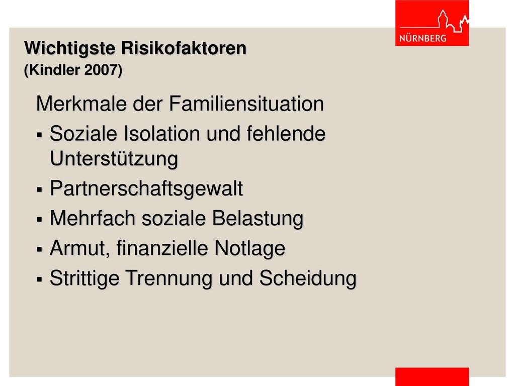 Wichtigste Risikofaktoren (Kindler 2007)