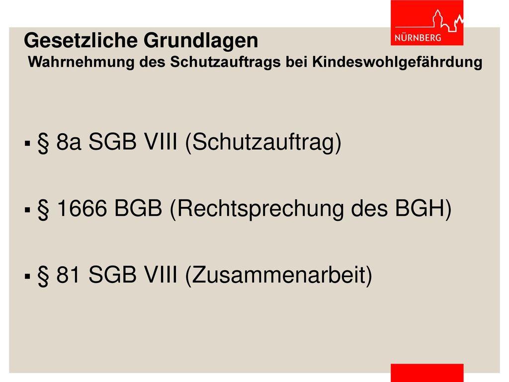 § 8a SGB VIII (Schutzauftrag) § 1666 BGB (Rechtsprechung des BGH)