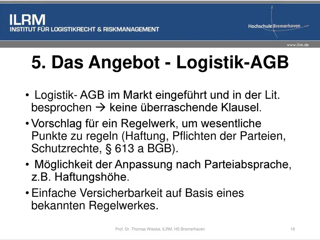 5. Das Angebot - Logistik-AGB