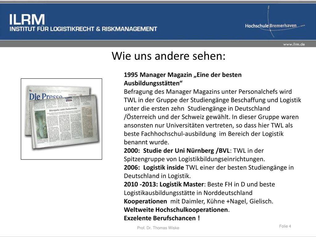 """Wie uns andere sehen: 1995 Manager Magazin """"Eine der besten Ausbildungsstätten"""