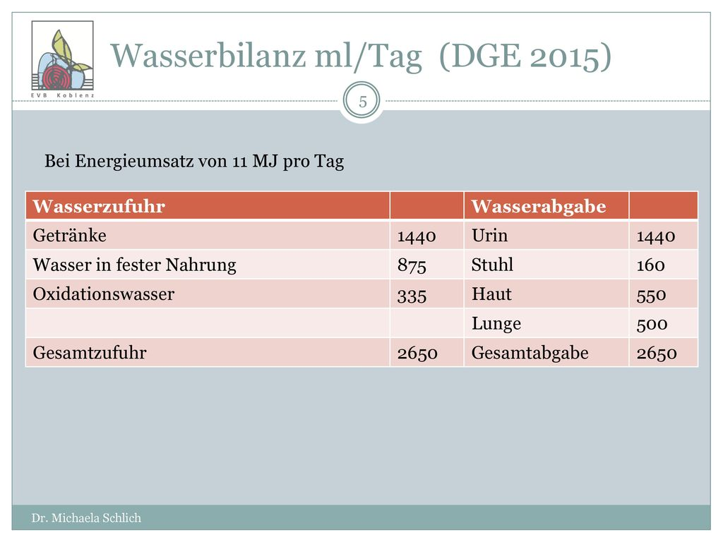 Wasserbilanz ml/Tag (DGE 2015)