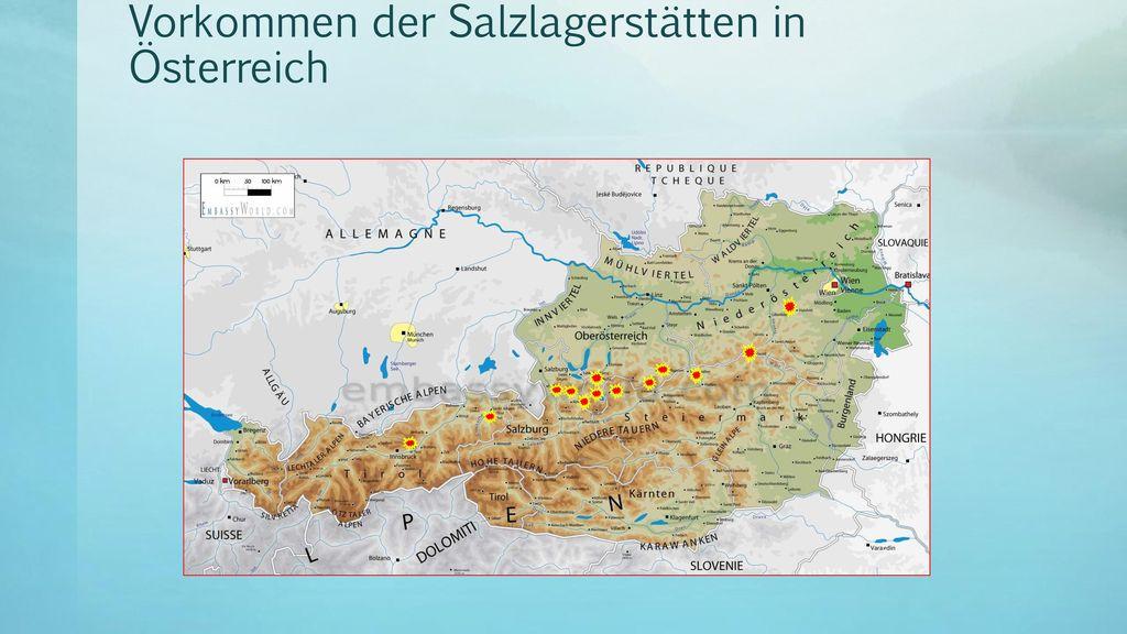 Vorkommen der Salzlagerstätten in Österreich