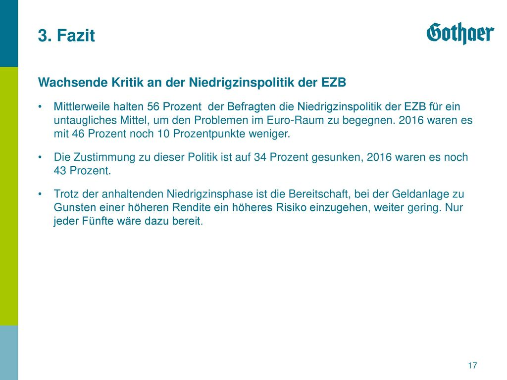 3. Fazit Wachsende Kritik an der Niedrigzinspolitik der EZB