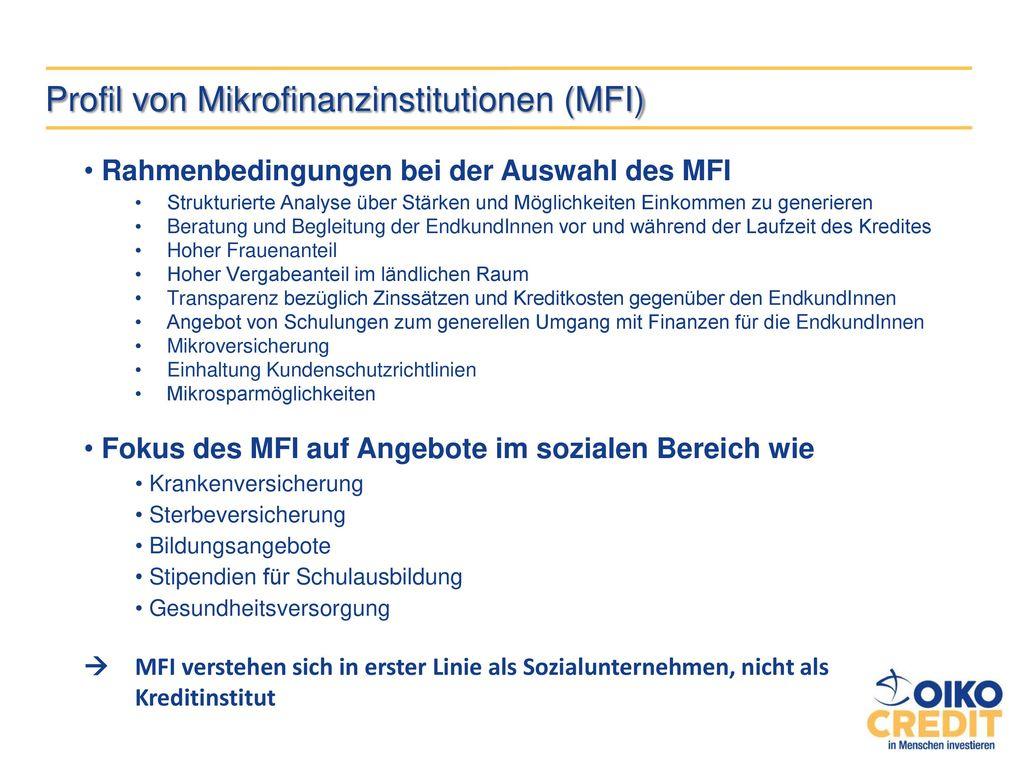 Profil von Mikrofinanzinstitutionen (MFI)