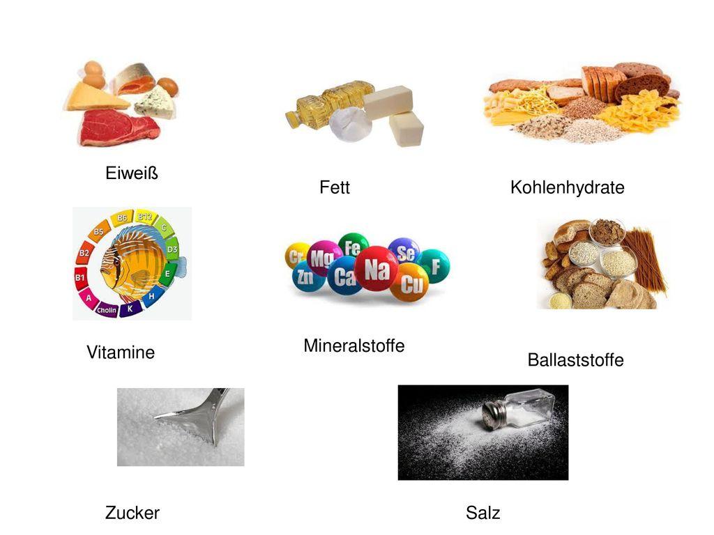 Eiweiß Fett Kohlenhydrate Mineralstoffe Vitamine Ballaststoffe Zucker Salz