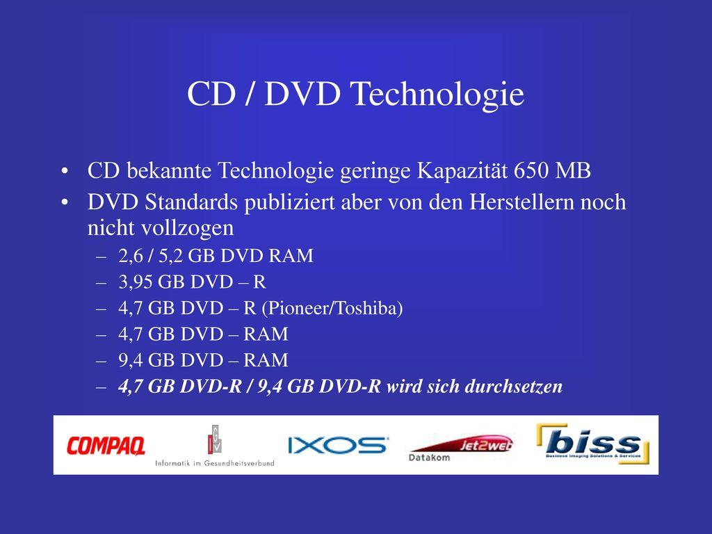 CD / DVD Technologie CD bekannte Technologie geringe Kapazität 650 MB