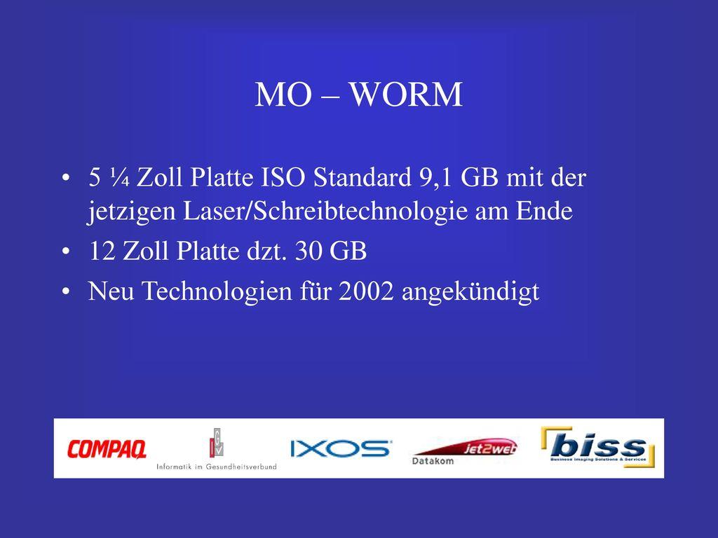 MO – WORM 5 ¼ Zoll Platte ISO Standard 9,1 GB mit der jetzigen Laser/Schreibtechnologie am Ende. 12 Zoll Platte dzt. 30 GB.