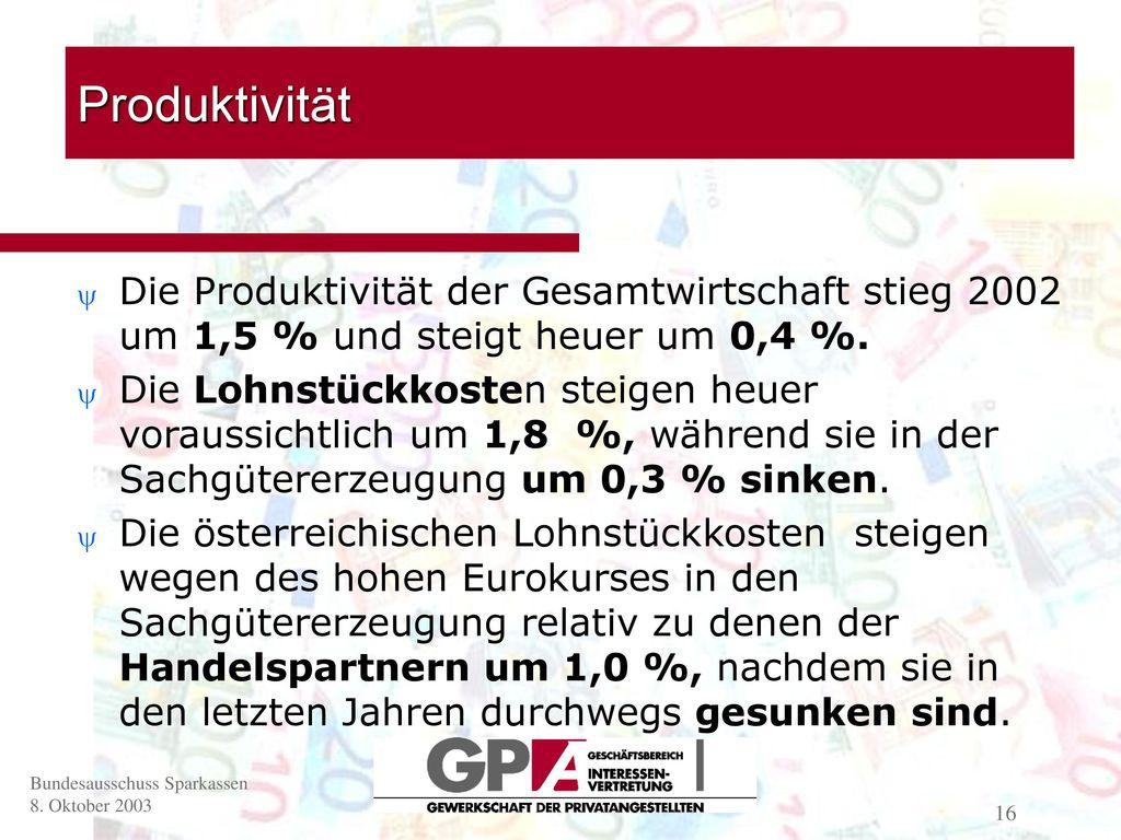 Produktivität Die Produktivität der Gesamtwirtschaft stieg 2002 um 1,5 % und steigt heuer um 0,4 %.
