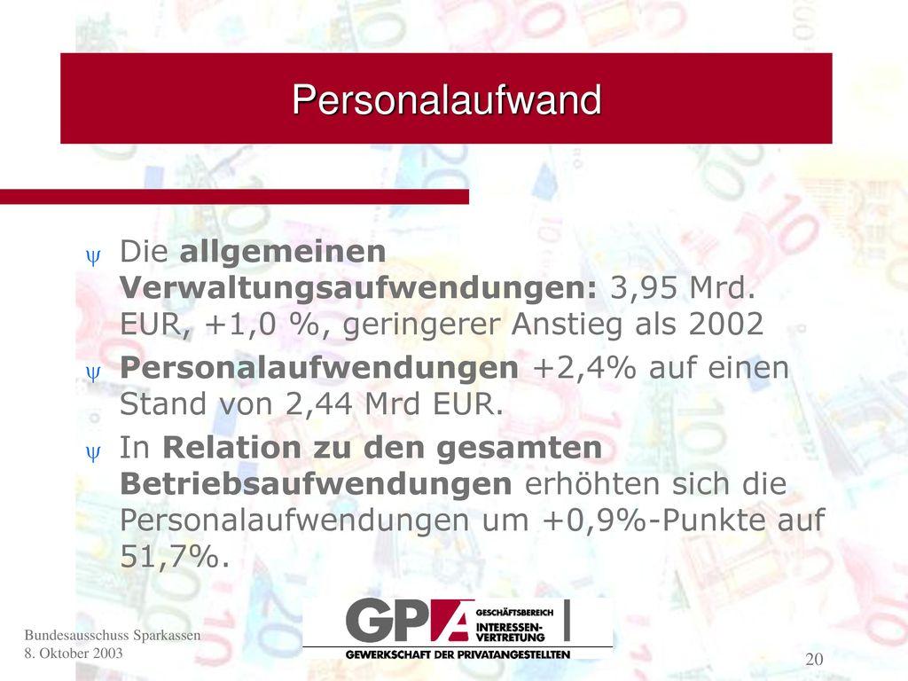 Personalaufwand Die allgemeinen Verwaltungsaufwendungen: 3,95 Mrd. EUR, +1,0 %, geringerer Anstieg als 2002.