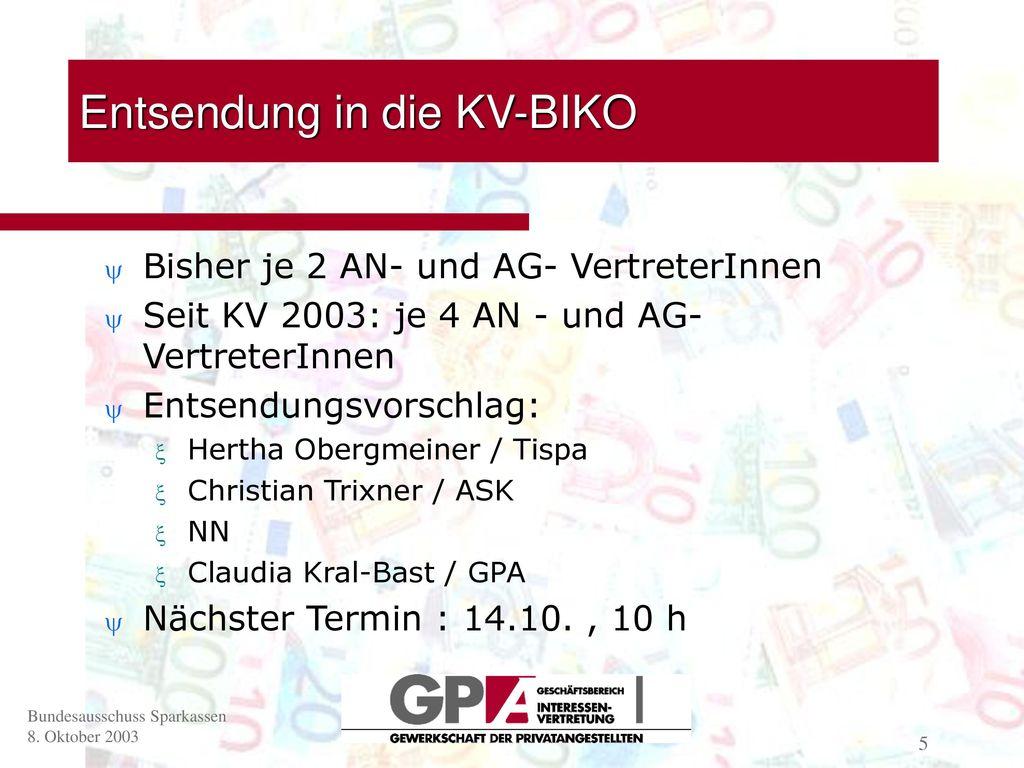 Entsendung in die KV-BIKO