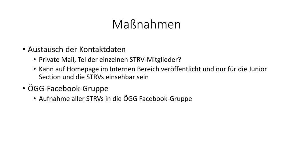 Maßnahmen Austausch der Kontaktdaten ÖGG-Facebook-Gruppe