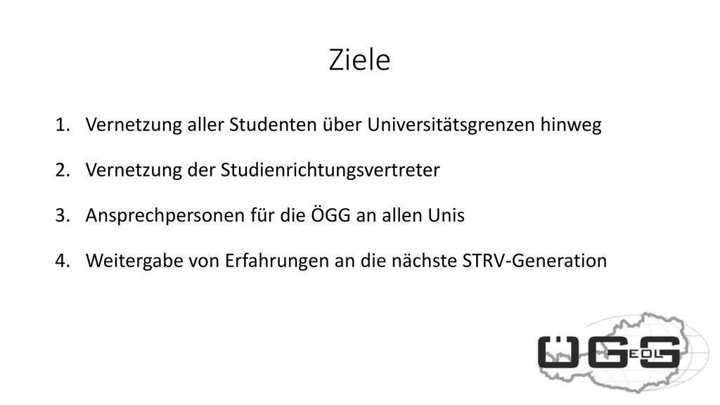 Ziele Vernetzung aller Studenten über Universitätsgrenzen hinweg